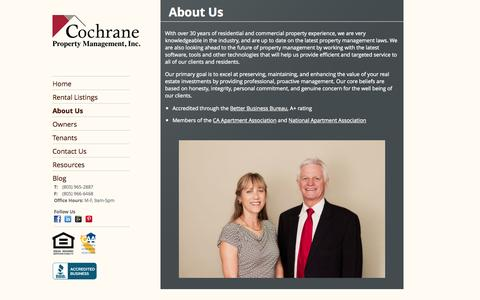 Screenshot of About Page cochranepm.com - About Us | Property Management Services by Cochrane Property Management, Inc. - captured Oct. 3, 2014