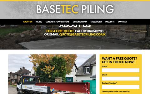 Screenshot of About Page basetecpiling.co.uk - About Basetec Piling - Piling & Foundation Contractors - captured Oct. 5, 2018