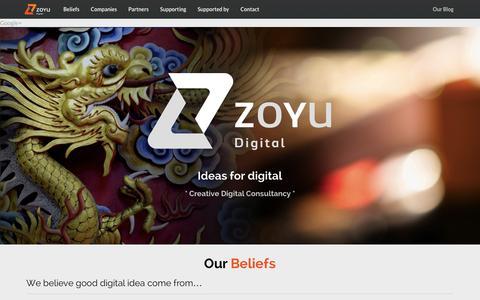 Screenshot of Home Page zoyu.com.au - Zoyu Digital · Ideas for Digital · Creative Digital Consultancy - captured Oct. 7, 2014