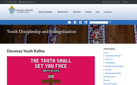 Screenshot of Signup Page sfcatholic.org - Diocesan Youth Rallies - Youth Discipleship and Evangelization - captured Oct. 30, 2018