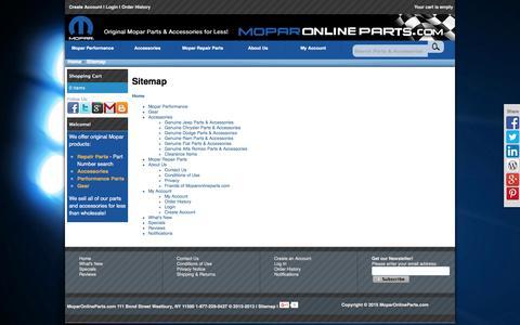 Screenshot of Site Map Page moparonlineparts.com - Sitemap - captured Feb. 10, 2016