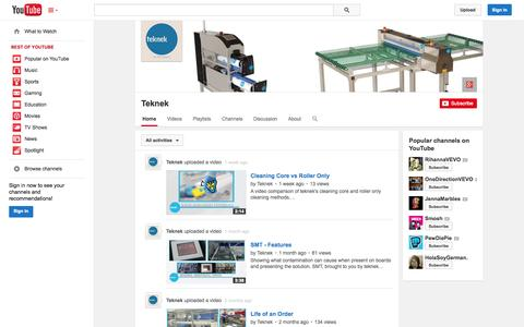 Screenshot of YouTube Page youtube.com - Teknek  - YouTube - captured Oct. 29, 2014