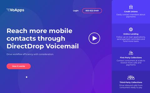 Screenshot of Home Page voapps.com - VoApps DirectDrop Voicemail | Reach More Mobile Contacts - captured April 6, 2019