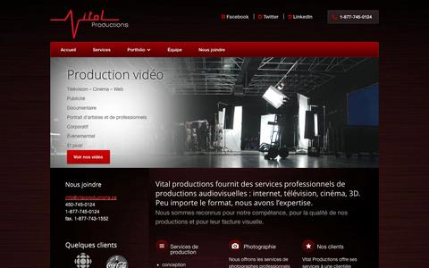 Screenshot of Services Page vitalproductions.ca - Nos services | Vital Productions - captured Oct. 7, 2014