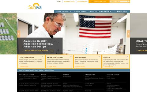 Screenshot of Home Page suniva.com - Suniva: High-power, Buy America compliant solar modules and cells from an American company. - captured July 17, 2014