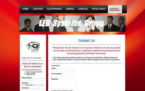 Screenshot of Contact Page ledsgw.com - LED Systems Group LLC, LED Lighting, Electronics, Power and Signal Distribution, Wiring - captured Oct. 1, 2014