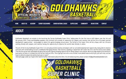 Screenshot of About Page goldhawksbasketball.com - About - Goldhawks Basketball - captured Dec. 12, 2015