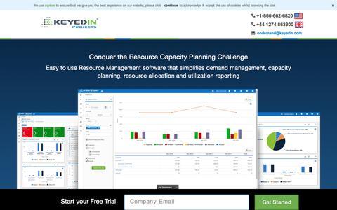 Screenshot of Landing Page keyedin.com - Resource Management Software - Home | KeyedIn Solutions | KeyedIn Projects - captured April 13, 2017