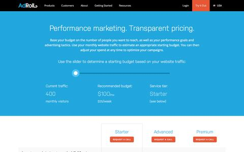 Screenshot of Pricing Page adroll.com - AdRoll - Pricing - captured Nov. 24, 2016
