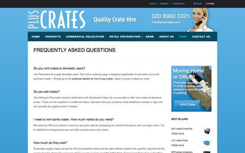 Screenshot of FAQ Page pluscrates.com - Frequently Asked Questions - Pluscrates Quality Crate Hire - captured Oct. 3, 2014