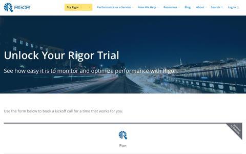 Screenshot of Trial Page rigor.com - Unlock Your Rigor Trial - Rigor - captured April 8, 2017