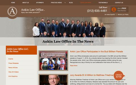 Screenshot of Press Page ankinlaw.com - Illinois Legal News | Ankin Law Offices in Chicago | Howard Ankin - captured Sept. 26, 2018