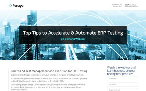 Screenshot of Landing Page panaya.com - Top Tips for Business Process Testing your ERP Applications - captured Sept. 20, 2018