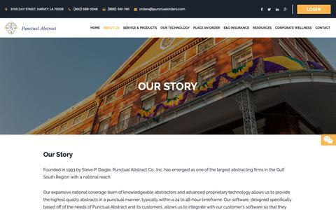 Screenshot of About Page punctualabstract.com - Our Story | Punctual Abstract - captured Sept. 29, 2018