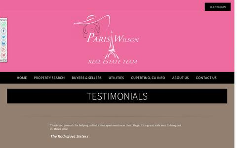 Screenshot of Testimonials Page amicirealestate.com - Testimonials | Paris Wilson | Real Estate Agent | Cupertino, CA Homes For Sale - captured Jan. 30, 2016