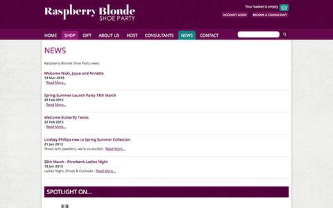 Screenshot of Press Page raspberryblonde.co.uk - News > Raspberry Blonde Home > Raspberry Blonde Shoe Party - captured Oct. 7, 2014