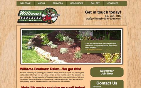 Screenshot of Home Page williamsbrotherstree.com - Williams Brothers - : Williams Brothers - captured Oct. 6, 2014