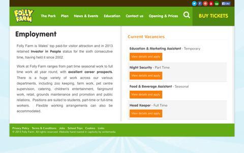 Screenshot of Jobs Page folly-farm.co.uk - Folly Farm & Zoo, Pembrokeshire, Wales: Jobs - captured Oct. 6, 2014