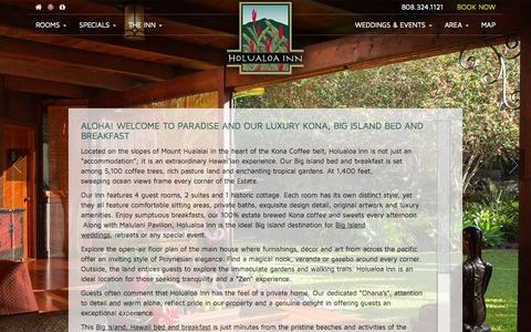 Screenshot of Home Page holualoainn.com - Big Island Bed and Breakfast :: A Stunning Boutique Hotel Near Kona - captured Oct. 4, 2014