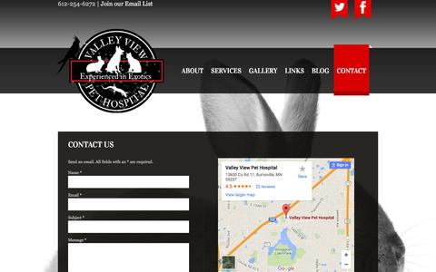 Screenshot of Contact Page valleyviewvet.com - Contact - captured June 21, 2016