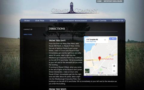 Screenshot of Maps & Directions Page grimesco.com - Directions | Grimes & Company, Inc - captured Sept. 30, 2018
