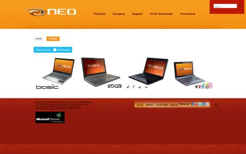 Screenshot of Products Page neo.com.ph - Products - captured Oct. 26, 2014