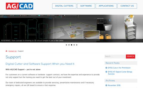 Screenshot of Support Page agcad.co.uk - Support - AG/CAD - captured Dec. 17, 2018