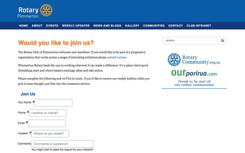 Screenshot of Signup Page plimmertonrotary.org.nz - Join Us, Rotary Club of Plimmerton - captured Feb. 7, 2018