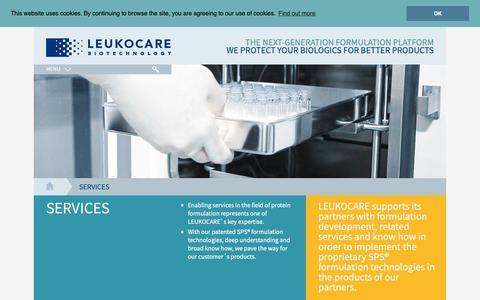 Screenshot of Services Page leukocare.com - Services - Leukocare AG - captured Sept. 25, 2018