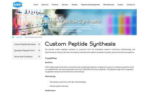 Screenshot of Services Page usvindia.com - Custom Peptides | Custom Peptide Synthesis Products Research - captured Nov. 29, 2016
