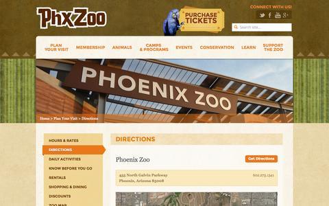 Screenshot of Maps & Directions Page phoenixzoo.org - Directions - Phoenix Zoo - captured Sept. 18, 2014