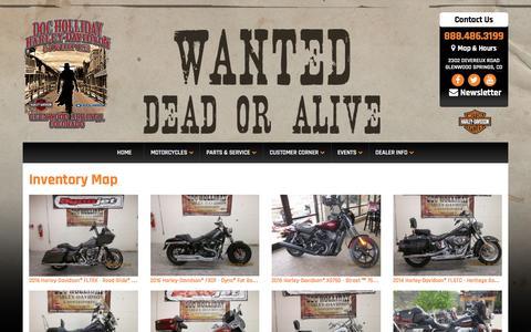 Screenshot of Site Map Page dochollidayharley.com - Inventorymap | Doc Holliday Harley-Davidson® | Glenwood Springs Colorado - captured Nov. 21, 2016