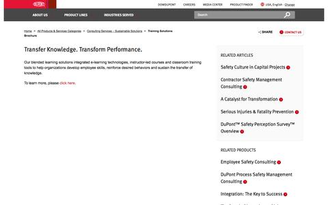 Screenshot of Services Page dupont.com - Training Solutions Brochure | DuPont Sustainable Solutions | DuPont USA - captured Feb. 19, 2018