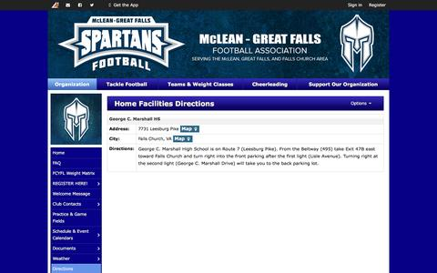 Screenshot of Maps & Directions Page mcleanyouthfootball.org - Home Facilities Directions | McLean-Great Falls Football - captured Aug. 10, 2016