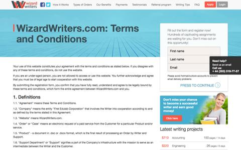 Screenshot of Terms Page wizardwriters.com - Terms of Use of WizardWriters.com - captured Sept. 22, 2014