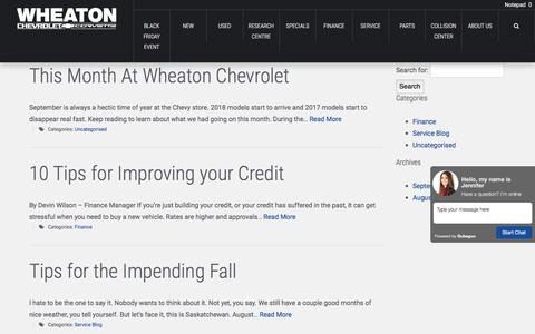 Screenshot of Blog wheatonchev.com - Blog - Wheaton Chevrolet - captured Nov. 4, 2017