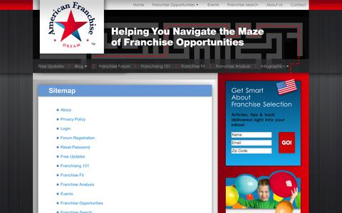 Screenshot of Site Map Page americanfranchisedream.com - Sitemap | American Franchise - captured Sept. 26, 2014