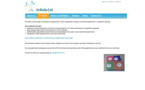 Screenshot of Products Page abbaltis.com - Products | Biologic and Diagnostic Products | Kent, United Kingdom | AbBaltis Ltd - captured Oct. 4, 2014