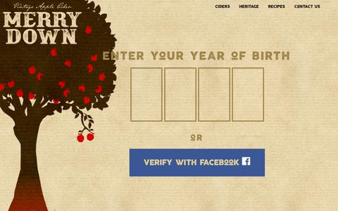 Screenshot of Privacy Page merrydown.co.uk - Agegate - Merrydown Cider - captured Oct. 17, 2018