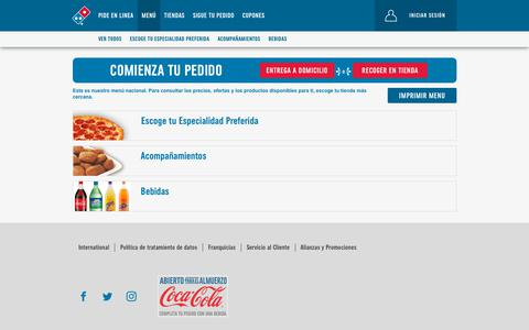 Screenshot of Menu Page dominos.com.co - categoryviewAll - Menú general - captured Sept. 23, 2018