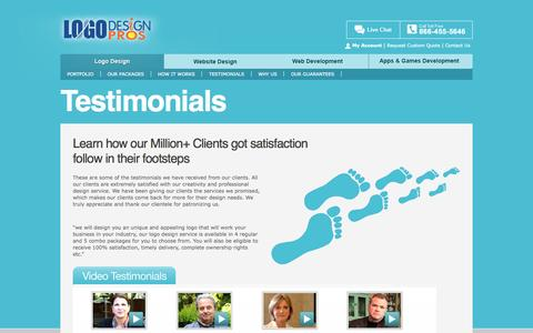 Screenshot of Testimonials Page logodesignpros.com - Logo Design Testimonials Speak for the Quality of Our Service - captured Sept. 25, 2014