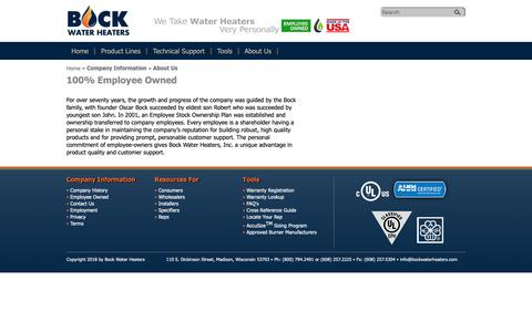 Screenshot of About Page bockwaterheaters.com - Bock Water Heaters > Company Information > About Us - captured Oct. 6, 2018
