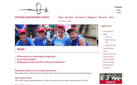 Screenshot of Team Page cpt.org - People | Christian Peacemaker Teams - captured Jan. 28, 2016