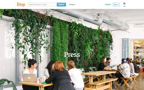 Screenshot of Press Page etsy.com - Etsy: Press - captured June 17, 2015