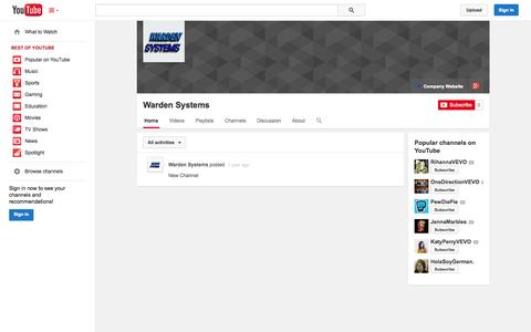 Screenshot of YouTube Page youtube.com - Warden Systems  - YouTube - captured Nov. 5, 2014