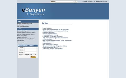 Screenshot of Services Page ebanyan.com - Mentoring and Business Development - captured Sept. 30, 2014