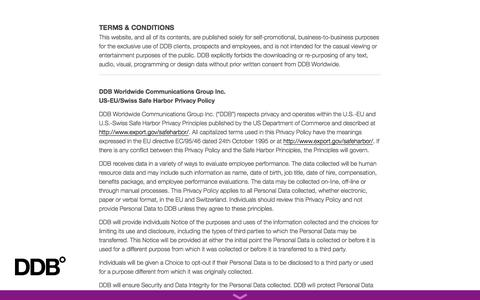 Screenshot of Terms Page ddb.com - DDB Worldwide |   Terms & Conditions - captured Sept. 22, 2014