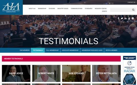 Screenshot of Testimonials Page aia-aerospace.org - Testimonials – Aerospace Industries Association - captured Nov. 20, 2016