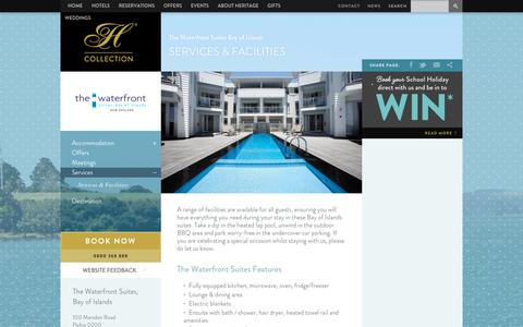 Screenshot of Services Page heritagehotels.co.nz - Apartment Accommodation Paihia | Heritage Hotels - captured June 30, 2018
