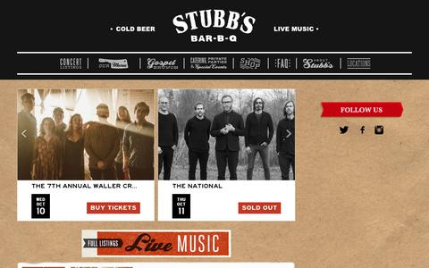 Screenshot of Home Page stubbsaustin.com - Stubb's BBQ - captured Oct. 10, 2018